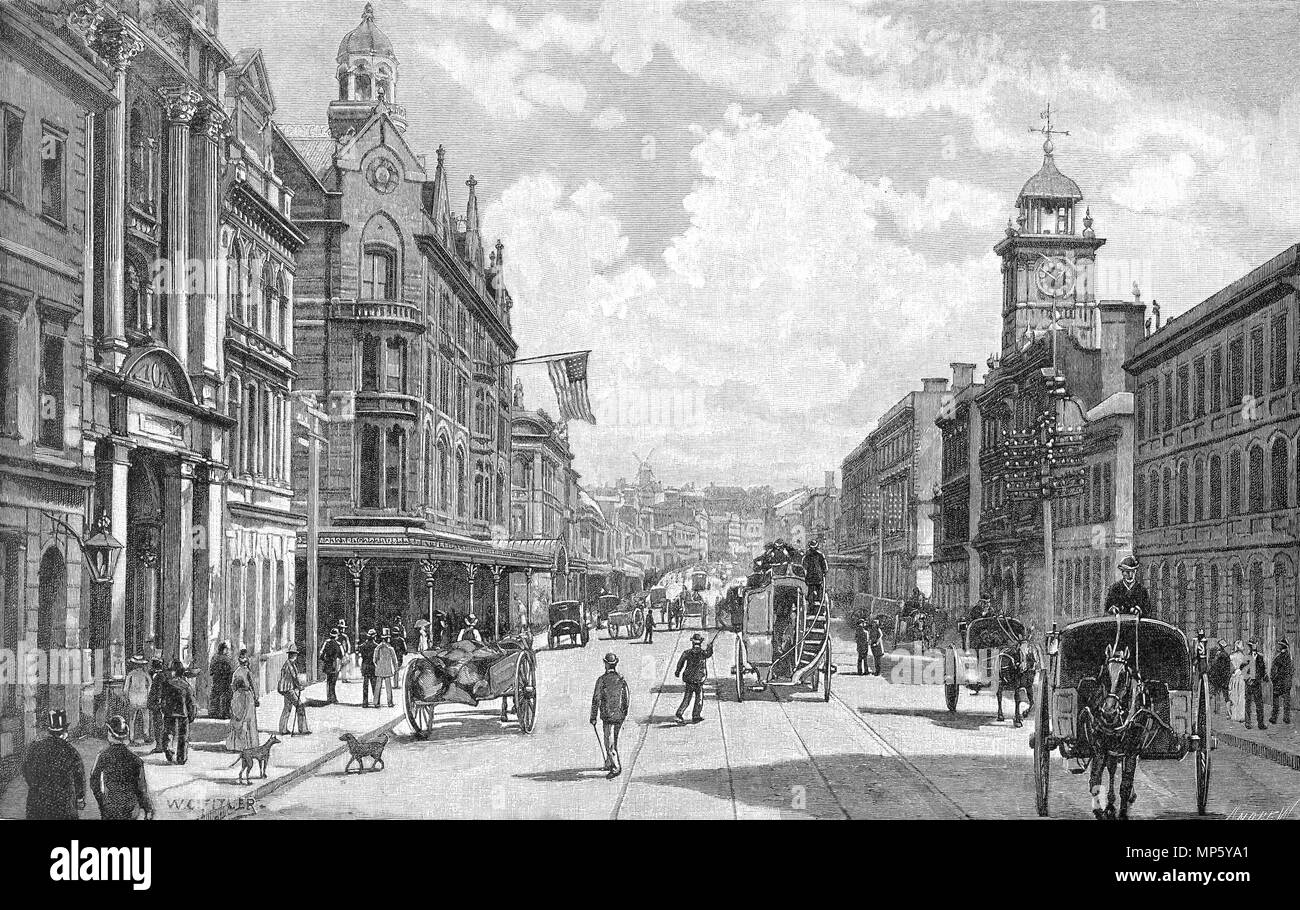 Engraving of Queen Street, Auckland, New Zealand, in the 1880s. From the Picturesque Atlas of Australasia Vol 3, 1886 - Stock Image