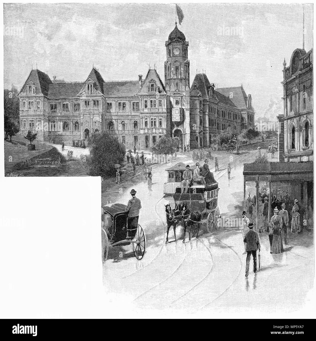 Engraving of the Auckland public library, New Zealand. From the Picturesque Atlas of Australasia Vol 3, 1886 - Stock Image