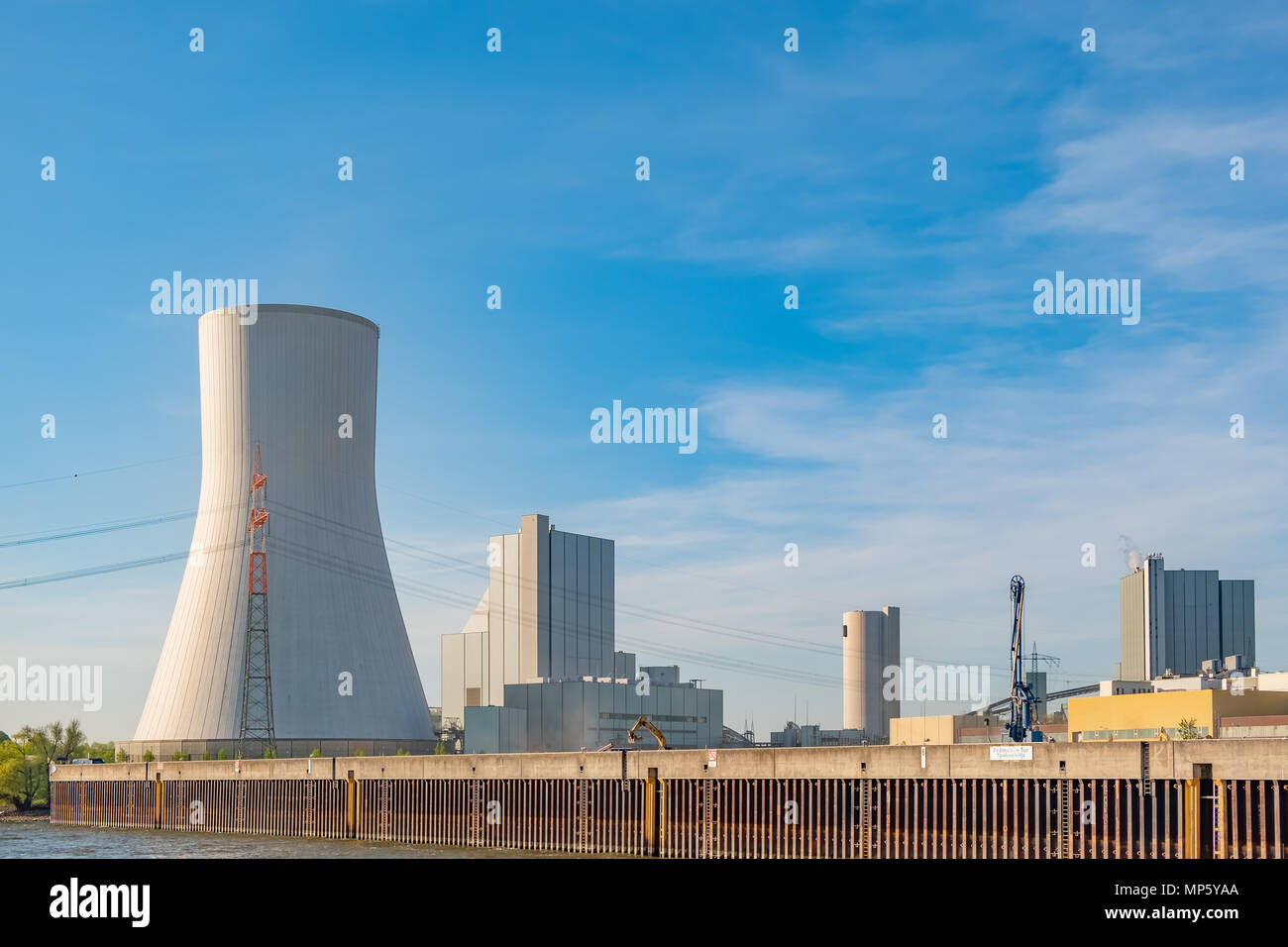 The Duisburg-Walsum coal-fired powerplant is located on the banks of the Rhine River in Germany. - Stock Image