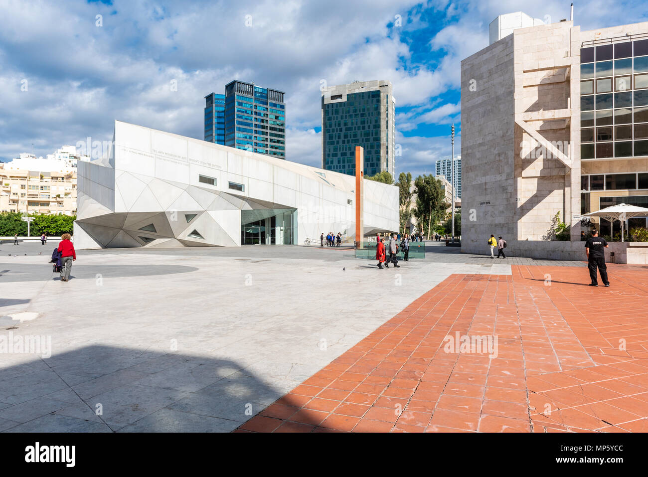Israel, Tel Aviv-Yafo - November 24, 2017: Exterior view of the Herta and Paul Amir building - the new wing of the Tel Aviv museum of art - designed b - Stock Image