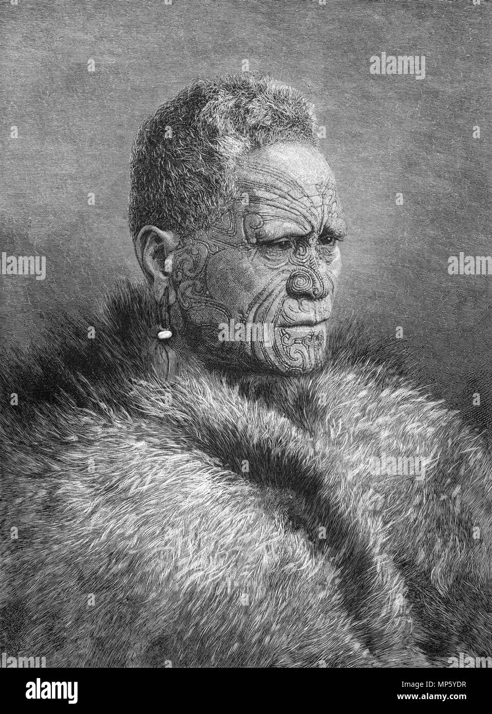 Engraving of the Maori King Tawihao, New Zealand. From the Picturesque Atlas of Australasia Vol 3, 1886 - Stock Image
