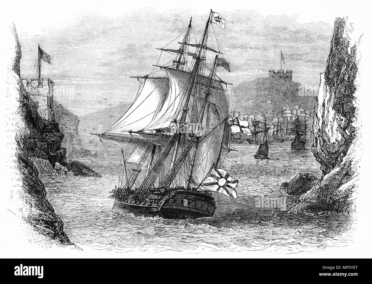 Engraving of a sailing ship making its way into harbour. From an original engraving in the Girl's Own Paper magazine 1883. - Stock Image