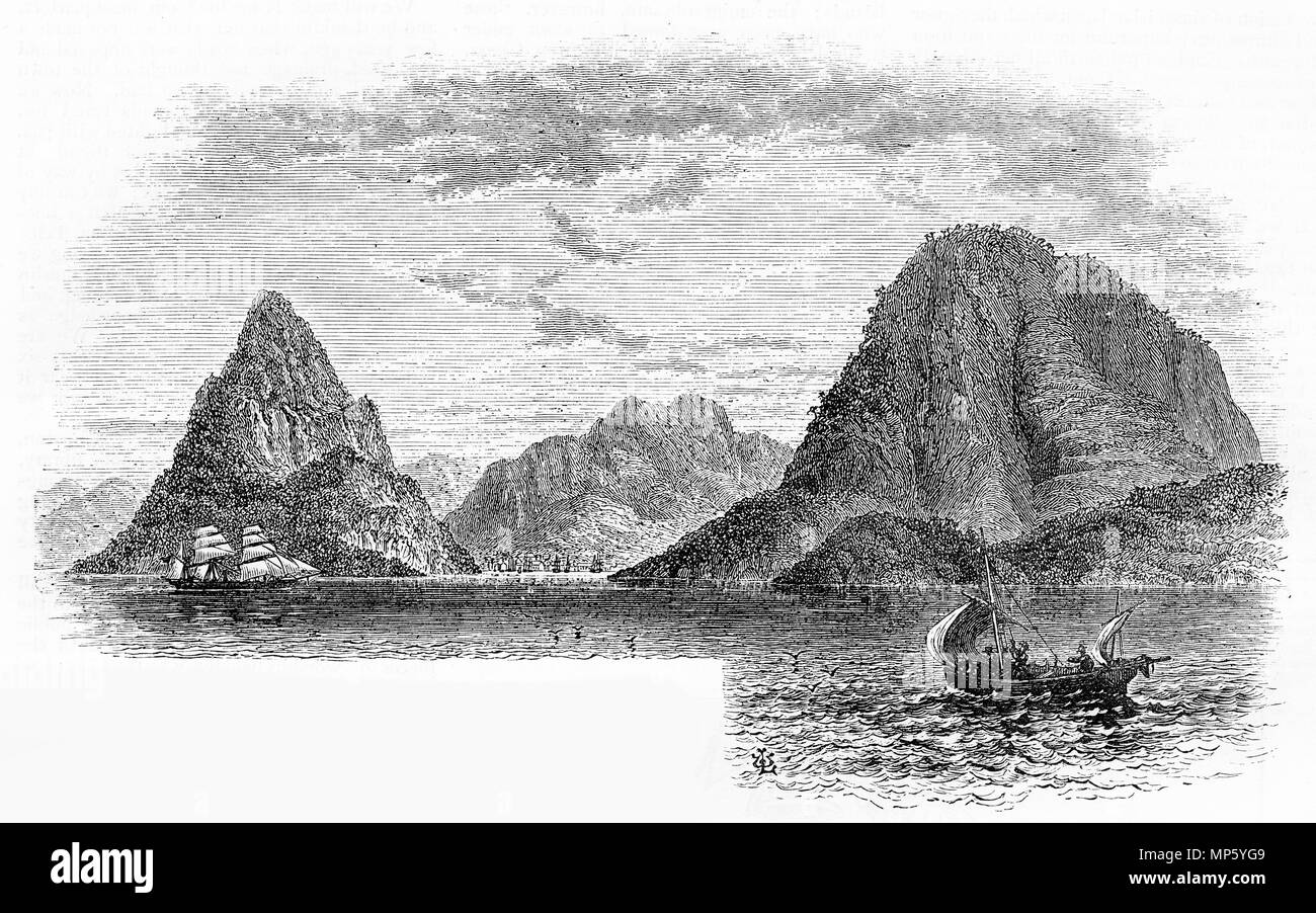 Engraving of The Pitons, St Lucia in about 1880. From an original engraving in the Girl's Own Paper magazine 1883. - Stock Image