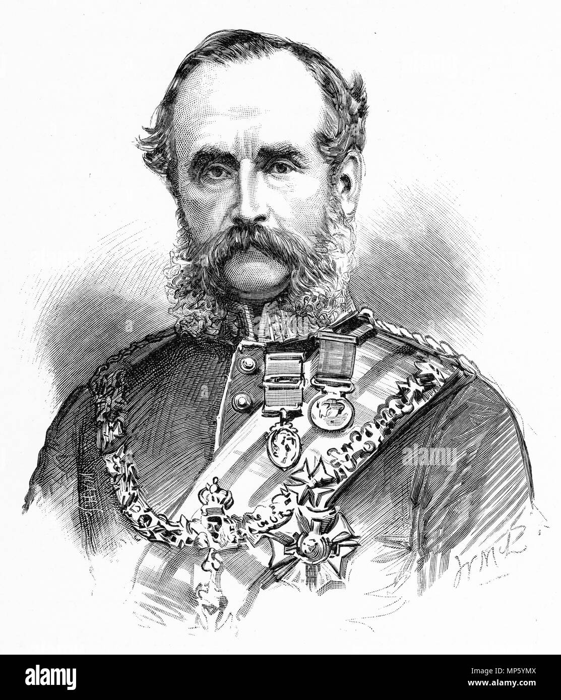 Engraving of Sir William Jervois, governor of New Zealand. From the Picturesque Atlas of Australasia Vol 3, 1886 - Stock Image