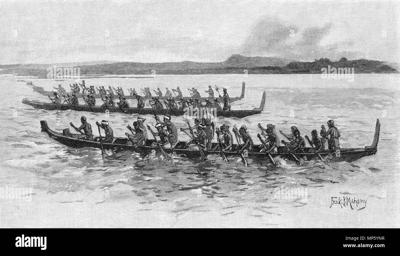 Engraving of three Maori war canoes racing in New Zealand. From the Picturesque Atlas of Australasia Vol 3, 1886 - Stock Image
