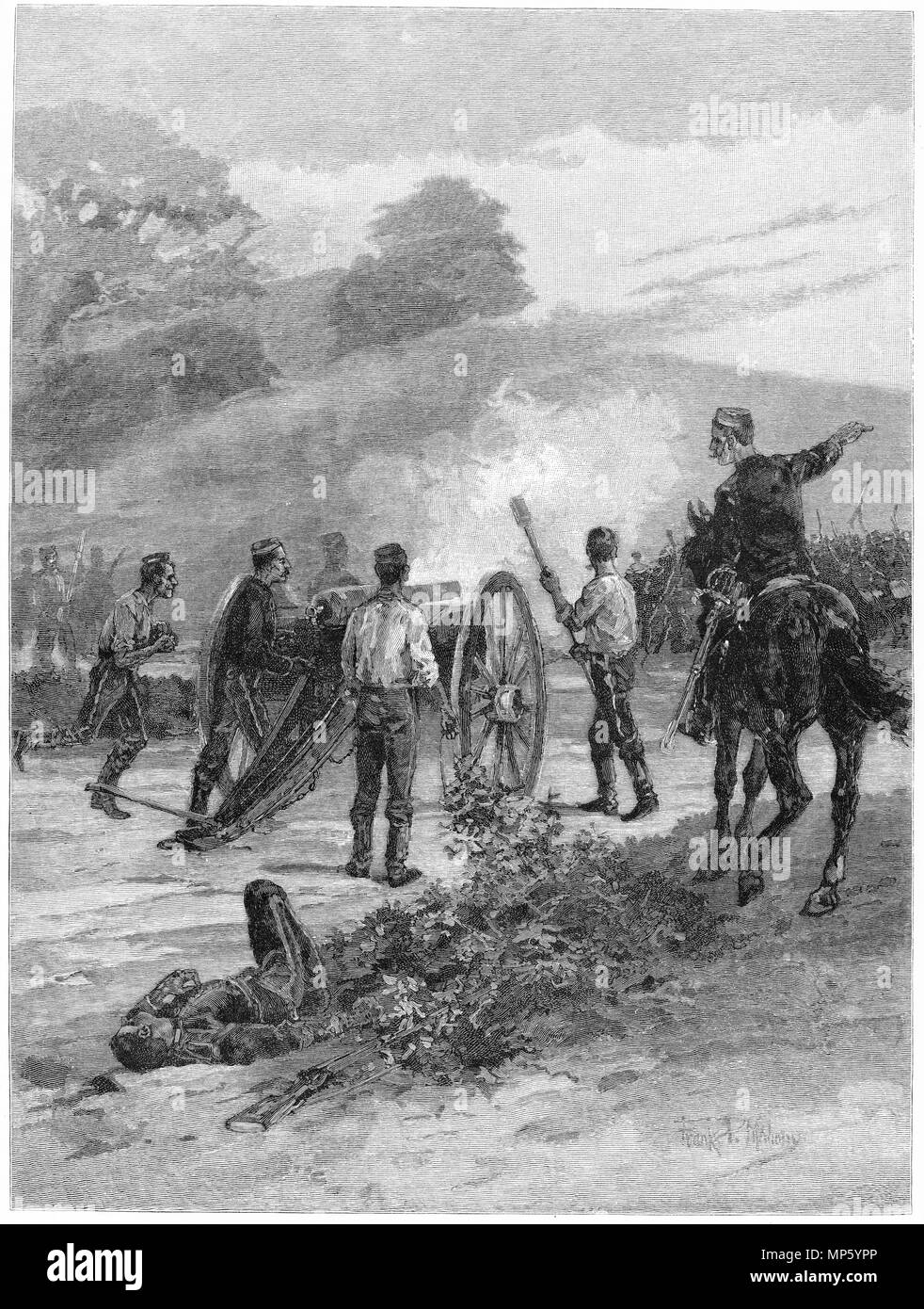 Engraving of the Seige of Pukerangiora during the Maori Land Wars, New Zealand. From the Picturesque Atlas of Australasia Vol 3, 1886 - Stock Image
