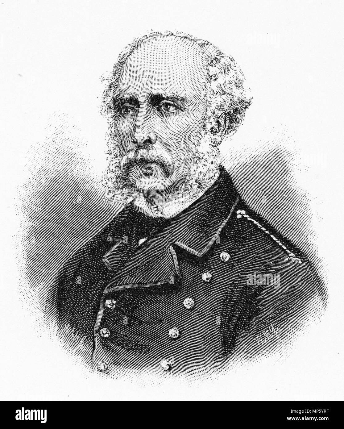 Engraving of the leader of the British forces during the New Zealand Land Wars, General Cameron. From the Picturesque Atlas of Australasia Vol 3, 1886 - Stock Image