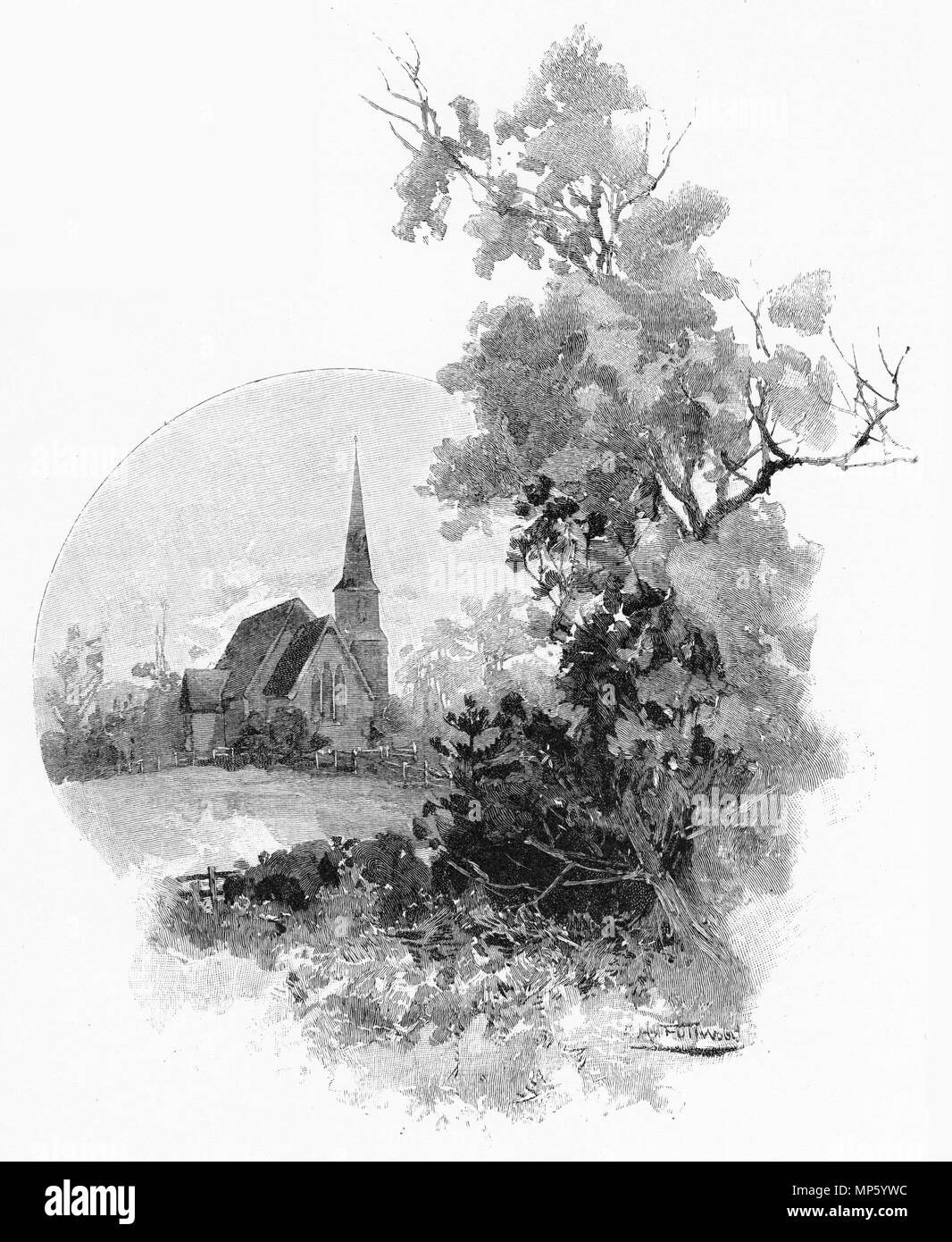 Engraving of a small church at the Mauku Battlefield, New Zealand. From the Picturesque Atlas of Australasia Vol 3, 1886 - Stock Image