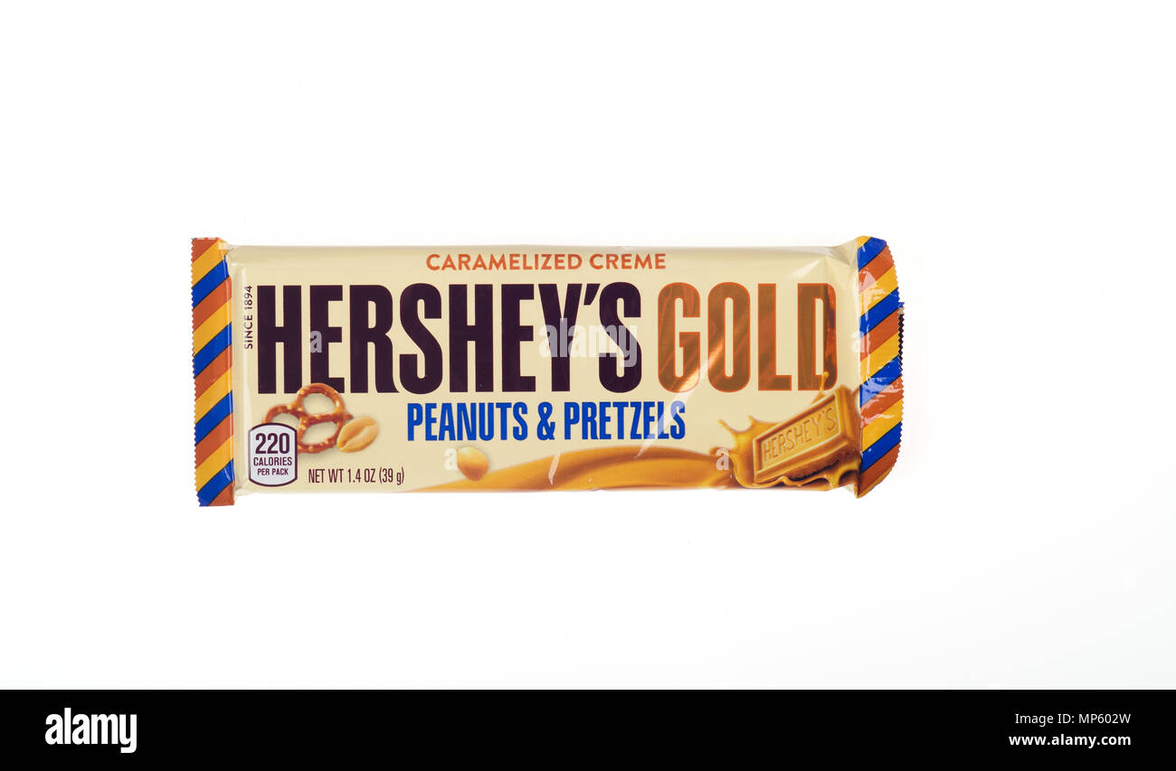 Hershey's Gold Candy Bar Peanuts and Pretzels Caramelized Creme - Stock Image
