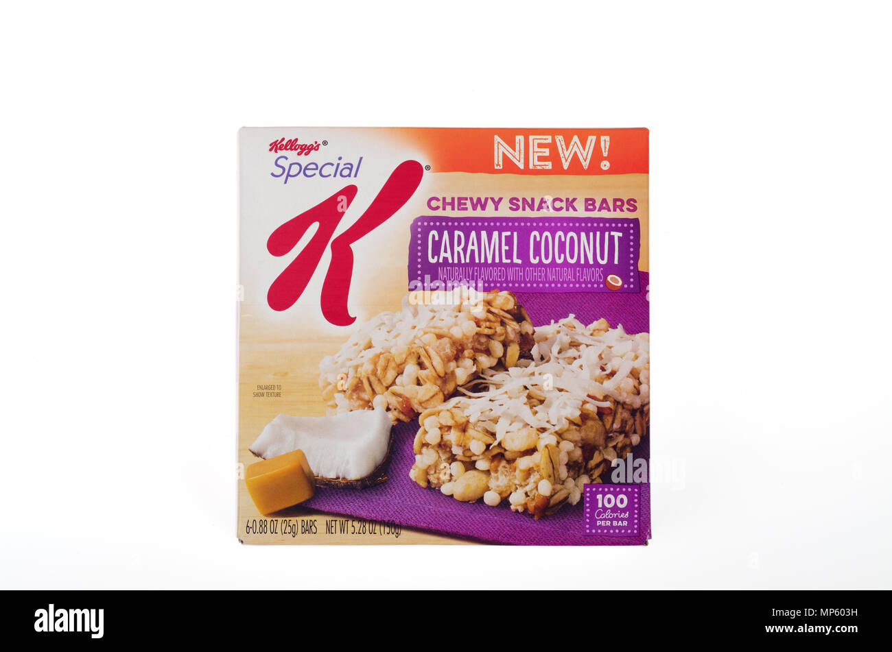 Box of Kellogg's Special K Chewy Caramel Coconut Snack Bars - Stock Image