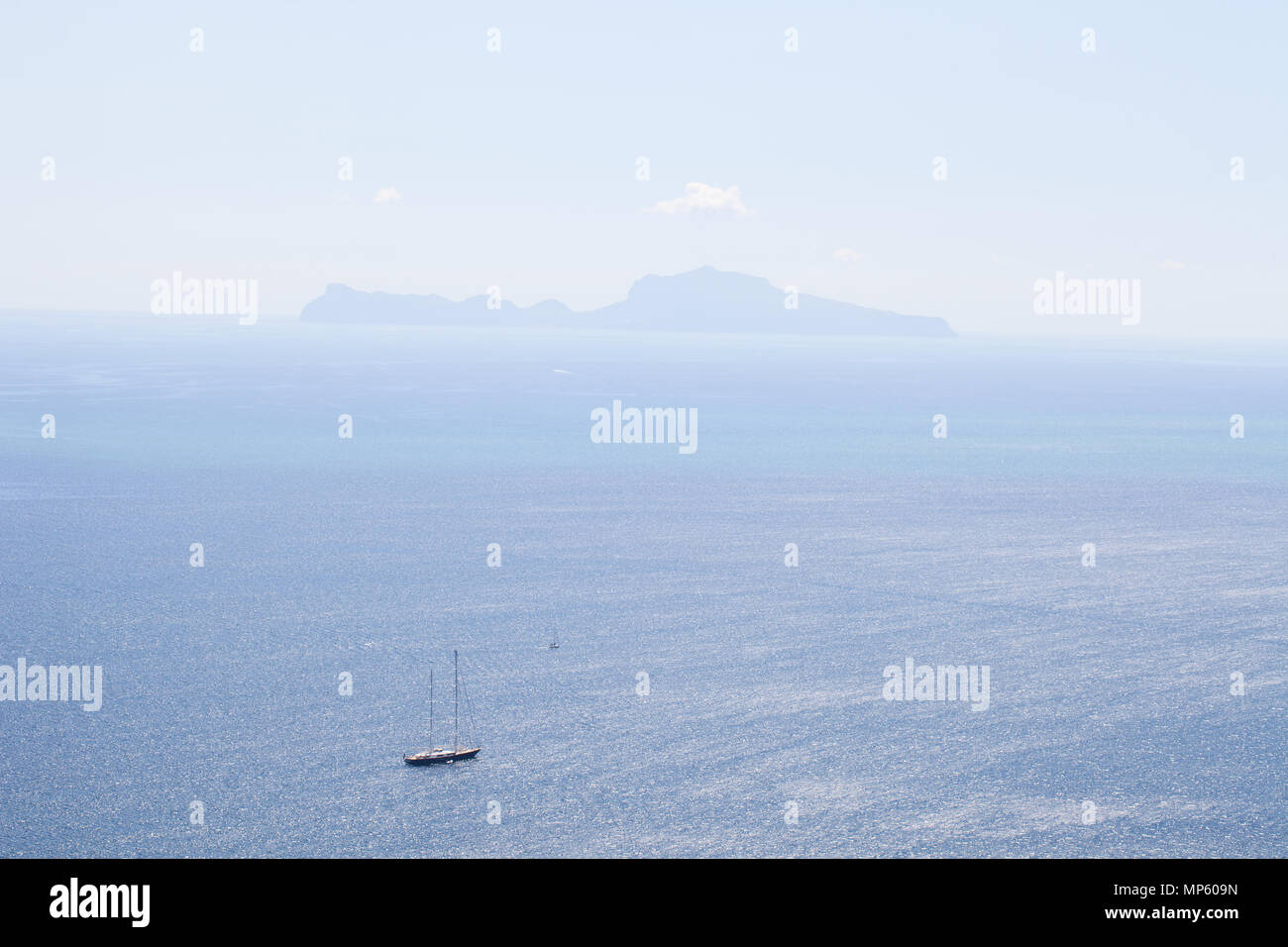 View from Saint Elmo's Castle in Naples onto the Gulf of Naples and the Island Capri, 05/09/2017, Italy - Stock Image