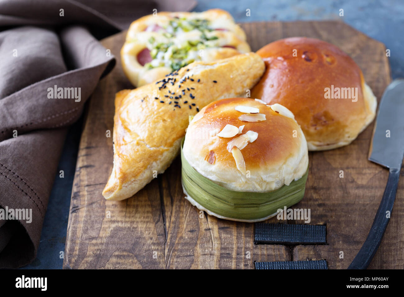 Savory chinese pastries with red bean filling - Stock Image