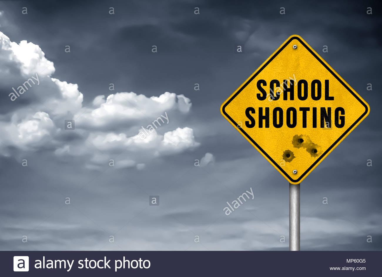 School Shooting - road sign - Stock Image