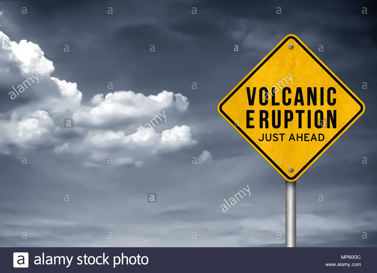 Volcanic Eruption just ahead - Stock Image