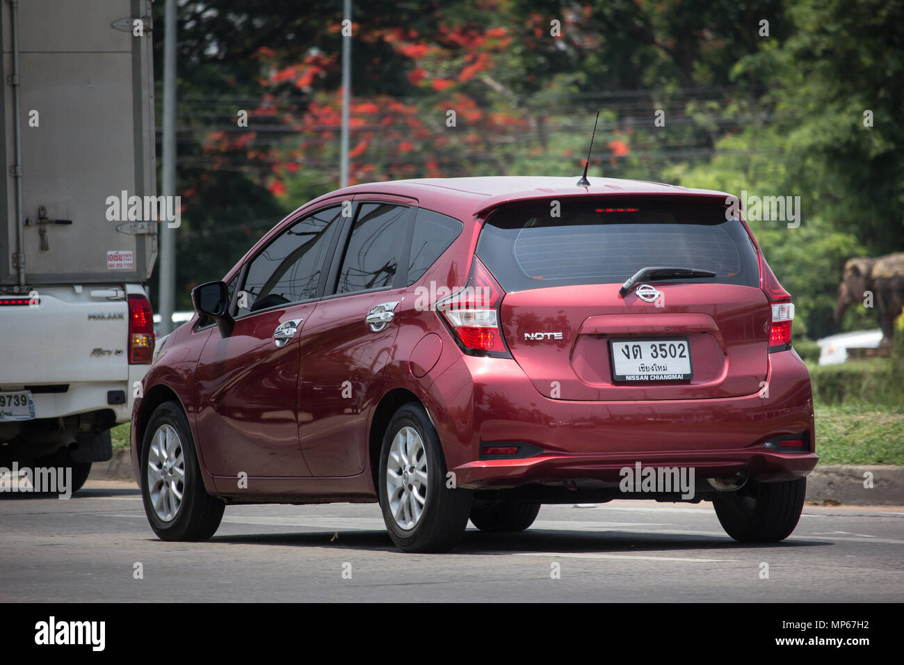 chiang mai, thailand - may 10 2018: private new eco car nissan note