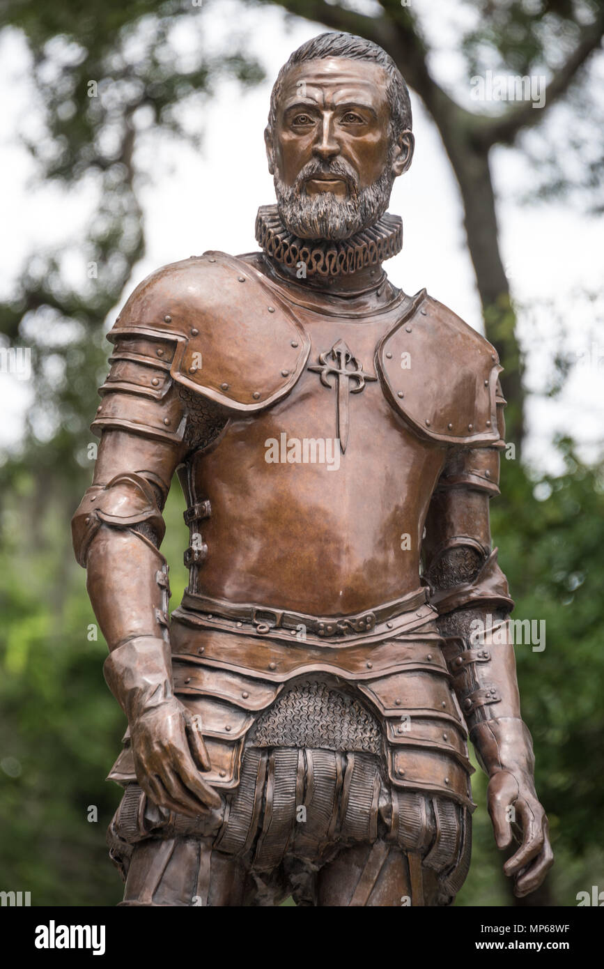 Bronze sculpture of Pedro Menendez de Aviles, founder of St. Augustine, Florida, at Fountain of Youth Archaeological Park in St. Augustine, FL. (USA) - Stock Image