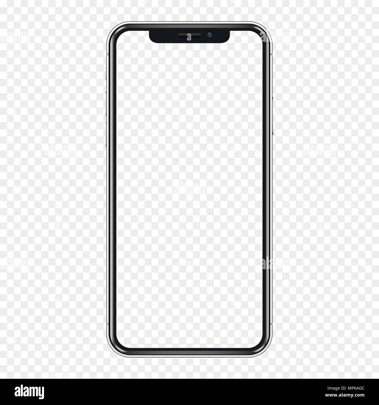 Black phone mock up with transparent screen, isolated on transparent background. Vector illustration. Stock Vector