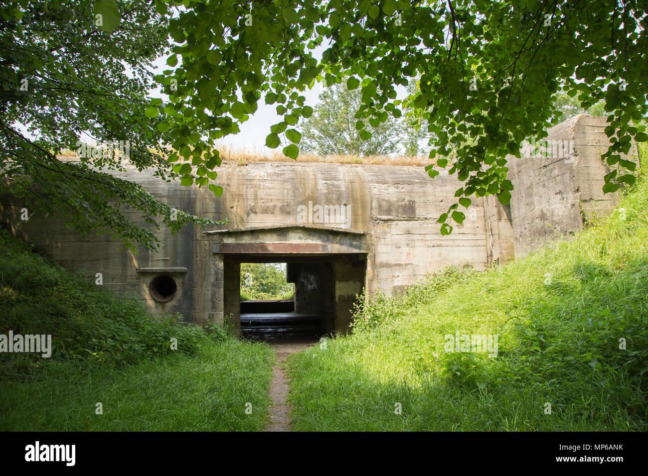 German ww2 bunker type 669 aimed at Het Haringvliet,in the Dutch village Willemstad municipality of Moerdijk. - Stock Image