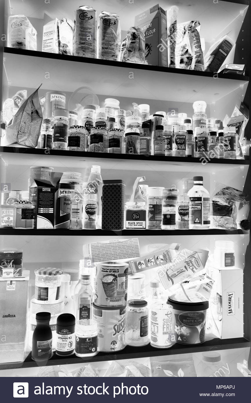 Pantry Cupboard With Kitchen Products Black White Stock