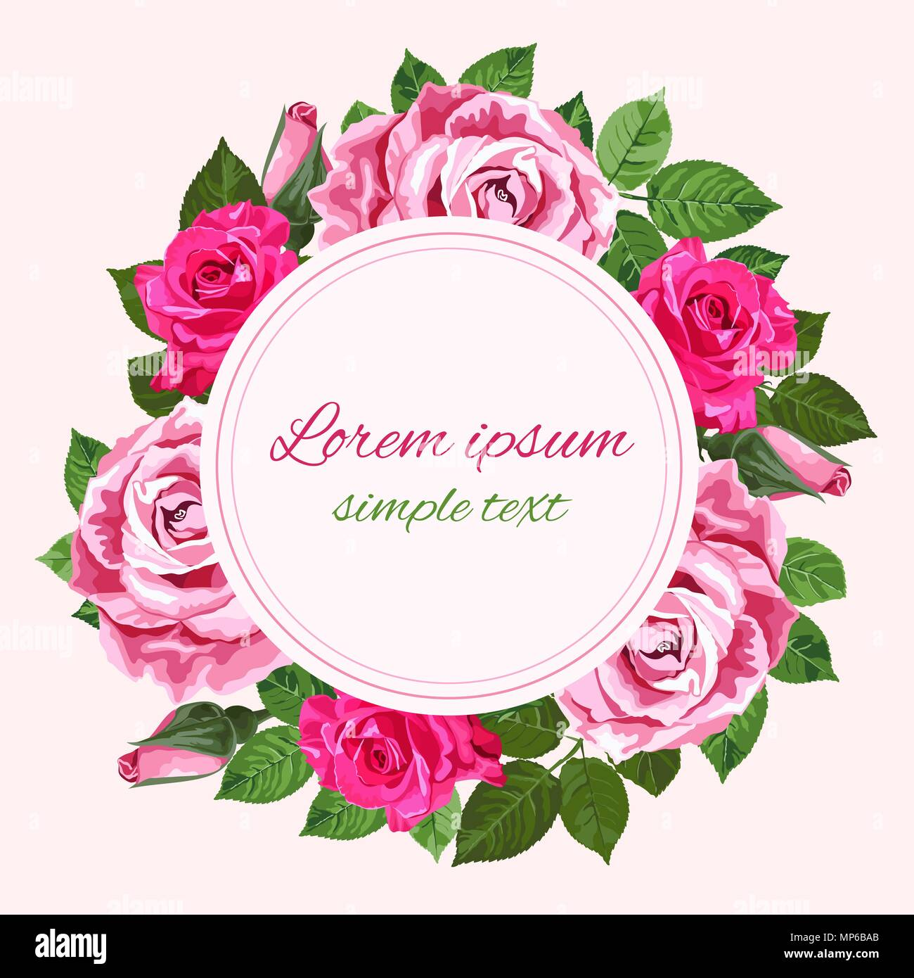Red And Pink Wedding Invitations: Vector Red And Pink Roses Wreath And Place For Text On The