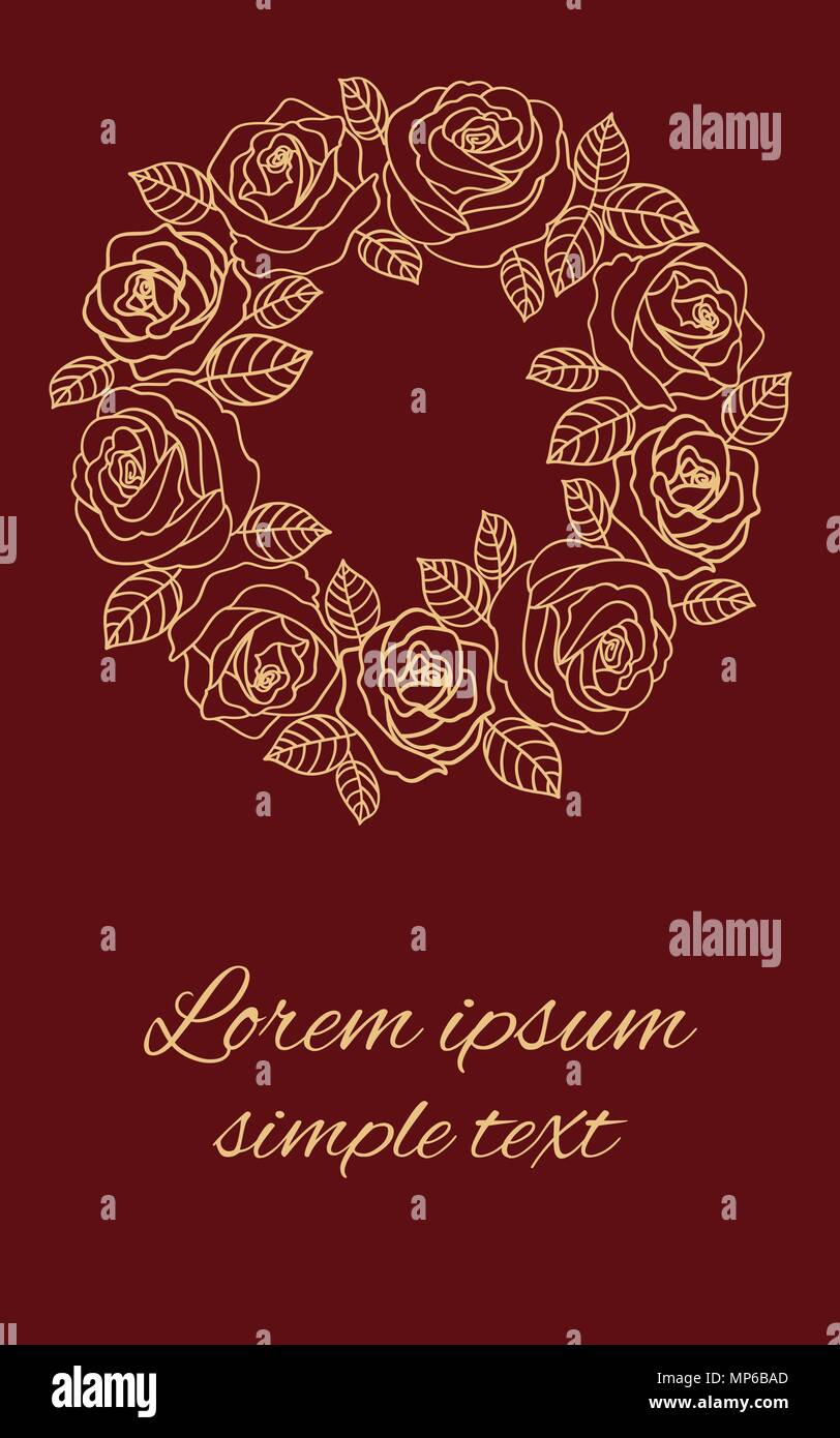 Vector Beige Outline Roses Wreath And Place For Text On The Burgundy  Background. Floral Design For Greeting Card Or Wedding Invitations