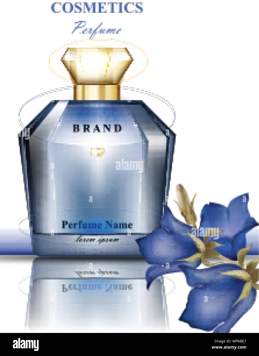 Delicate perfume stock vector images alamy perfume bottle with delicate blue flowers fragrance realistic vector product packaging design stock vector izmirmasajfo