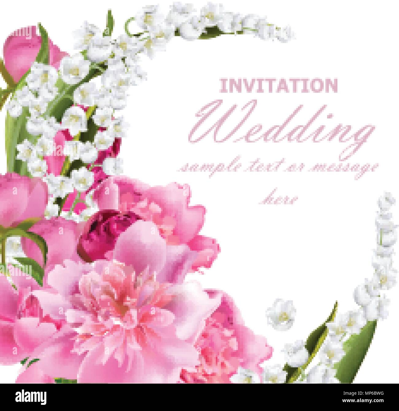 Peony flowers and lily of the valley bouquet. Wedding invitation or ...