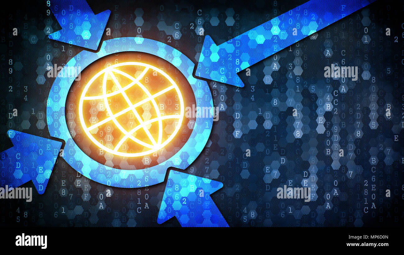 Globalization Concept: Earth - Icon on Pixelated Background Stock