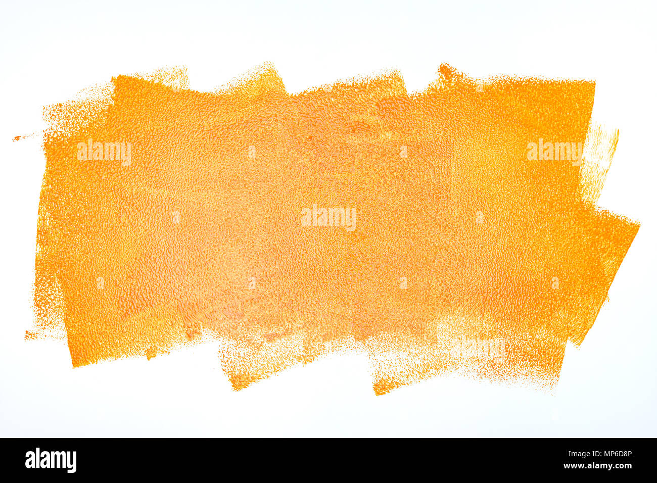 orange paint roller strokes on white wall background Stock Photo ...