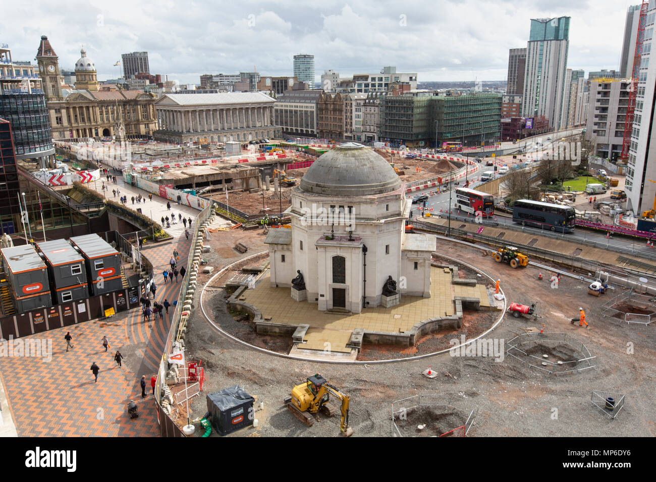 Building work around the Hall of Memory in Centenary Square, Birmingham. The view is from the Library of Birmingham. - Stock Image