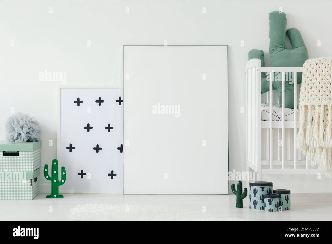 Mockup Of White Empty Poster Next To Cradle In Kidu0027s Room Interior With  Cactus Motif. Real Photo Wit A Place For Your Graphic Design
