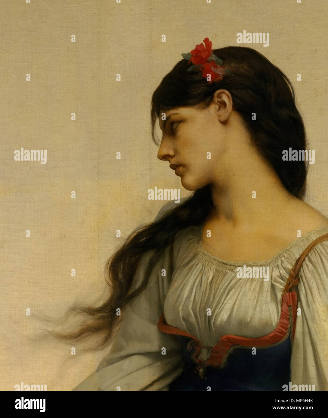 . English: Jules-Joseph Lefebvre. Graziella. The Metropolitan Museum of Art. Oil on canvas. 78 3/4 x 44 1/4 in. (200 x 112.4 cm) (Detail) . 1878.   Jules Lefebvre (1834–1912)   Alternative names Jules Joseph Lefebvre; Jules-Joseph Lefebvre; Jules Le Febvre  Description French painter  Date of birth/death 14 March 1834 24 February 1912  Location of birth/death Tournan, France Paris, France  Work period  1855-1901  Work location Paris  Authority control  : Q433973 VIAF:37191679 ISNI:0000 0001 1621 9259 ULAN:500013504 LCCN:nb2007017414 GND:117614734 WorldCat    crop by uploader 751 Jules Stock Photo
