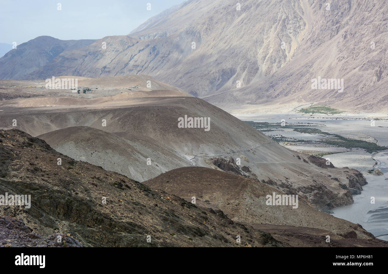 Mountain scenery in Ladakh, India. Ladakh is one of the most sparsely populated regions in Jammu and Kashmir. - Stock Image
