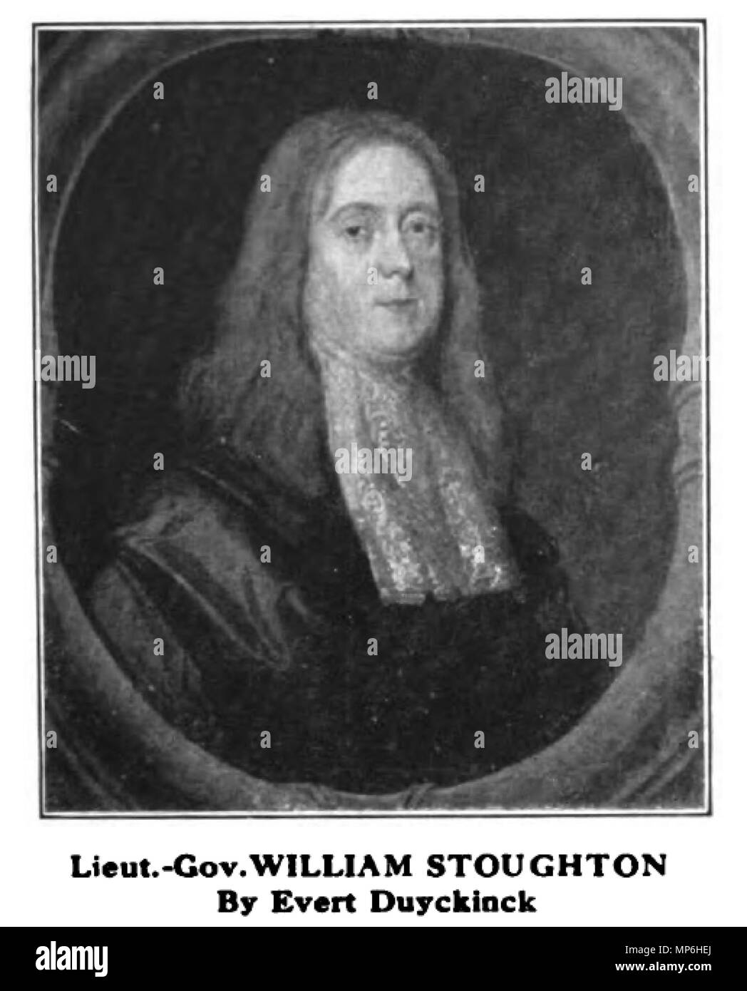 . English: Oil Portrait of William Stoughton, Lieut. Governor of Massachusetts, circa 1685, painted by Evert I. Duychinck (1632 - 1703), 75.5cm x 63.2cm (29 3/4' x 24 7/8'), acquired by the Boston Athenaeum in 1920. (For details, see: http://collections.si.edu/search/tag/tagDoc.htm?recordID=npg B.A.UR.102&hlterm=record ID%%%%%%%%%%%%%%%%3Anpg B.A.UR.102) This black-and-white reproduction was published in 'Old-time New England,' (The Bulletin of the Society for the Preservation of New England Antiquities), Volume XI, No. 4, Serial No. 24 (April 1921), in an advertisement by F. W. Bayley & Son,  - Stock Image