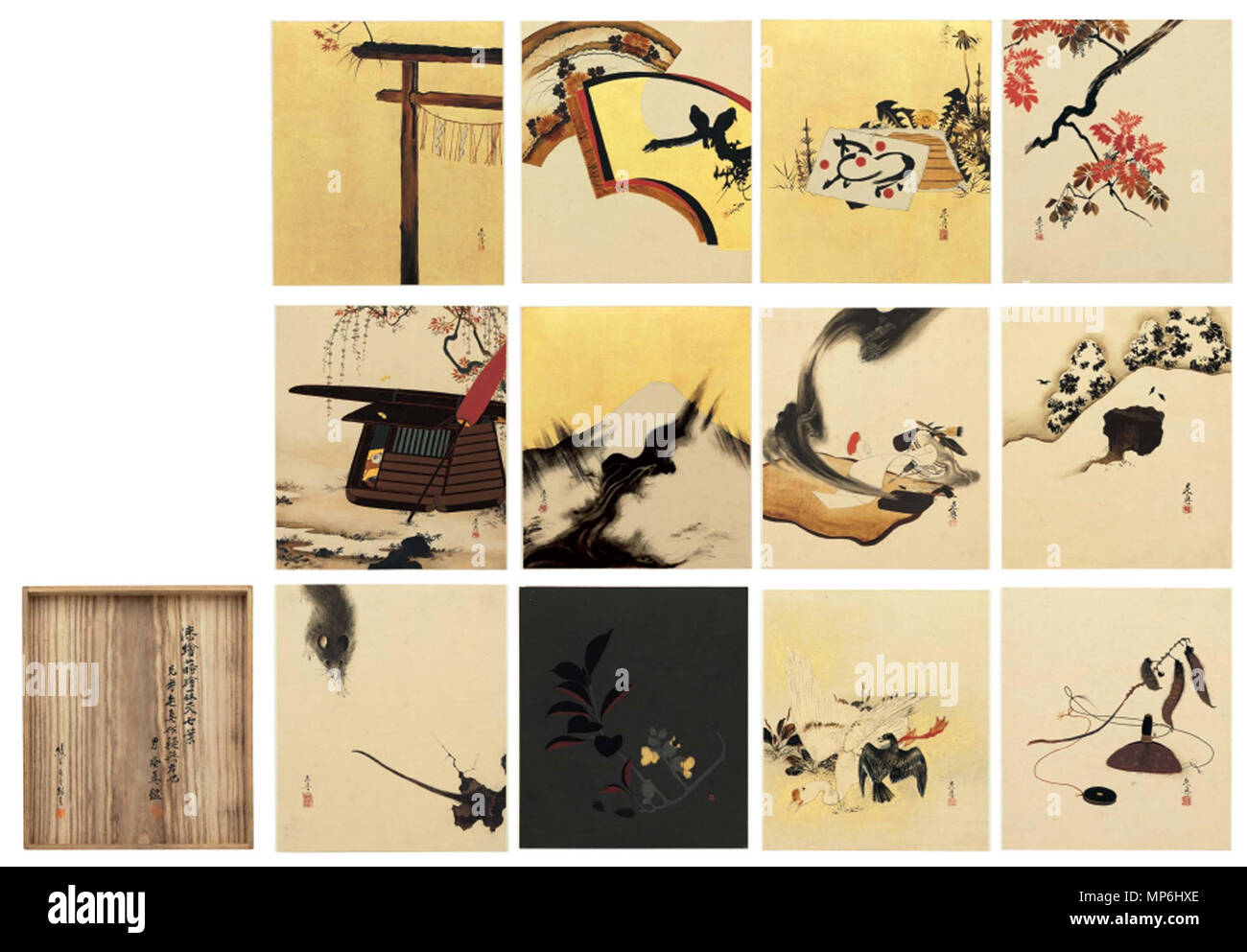 .  English: Shibata Zeshin (1807-1891) Album of twelve lacquer paintings Each signed Zeshin, sealed Koma, Zeshin, Shin or Tairyukyo Twelve paintings for an accordion album; lacquer on paper or lacquer and gold leaf on paper 7 5/8 x 6 5/8in. (19.5 x 16.8cm.) each approx. . 19th century.   1115 Shibata Zeshin (1807-1891), Album of 12 lacquer paintings - Stock Image