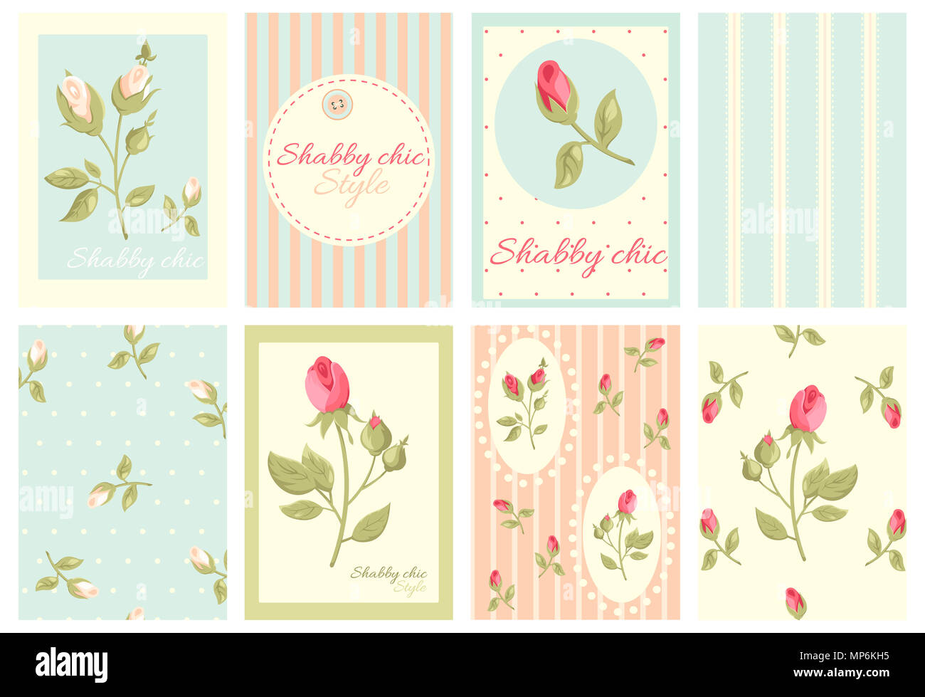Set Of Vintage Banner Flyer Placard In Shabby Chic Style With Rose And Inscription Label Sticker For Scrapbooking Vector Template Card Dec