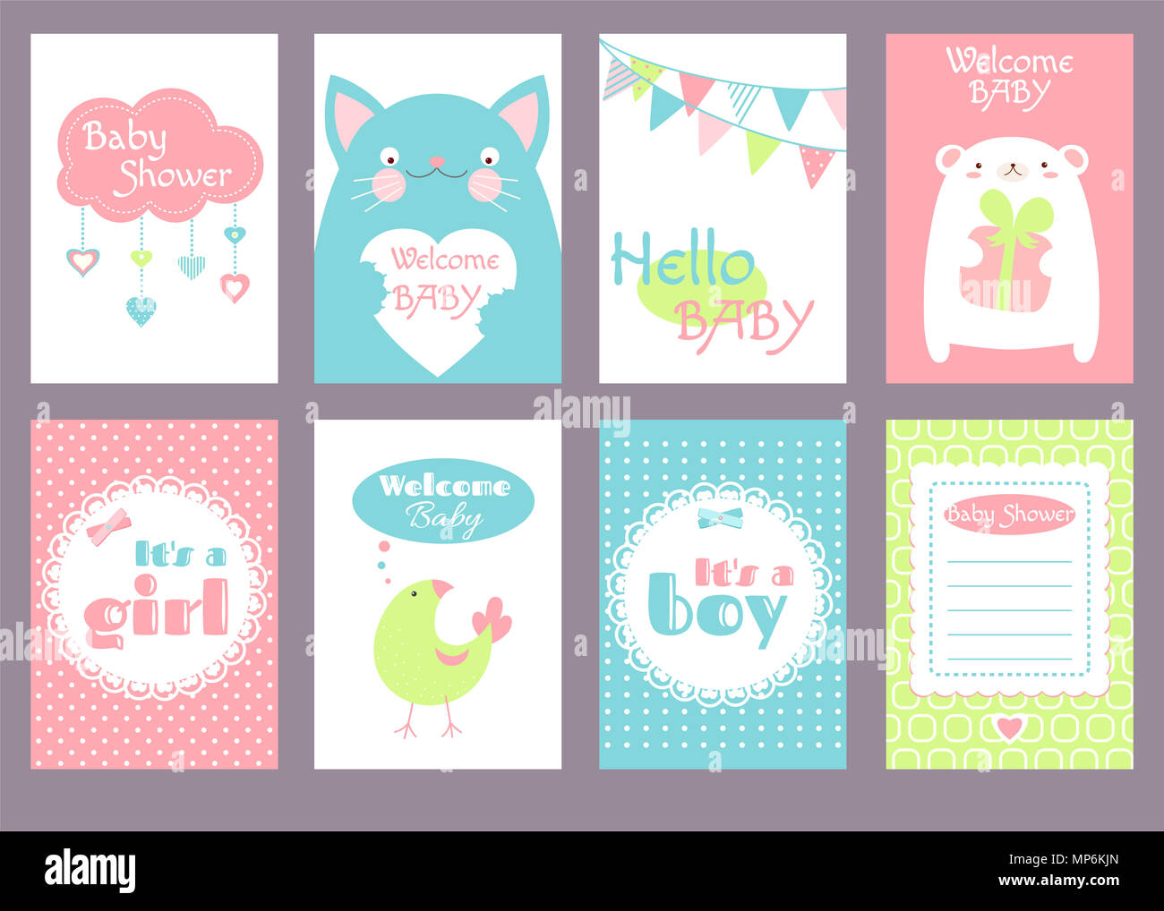 Collection Of Birthday Banner Background Flyer Placard With Cute