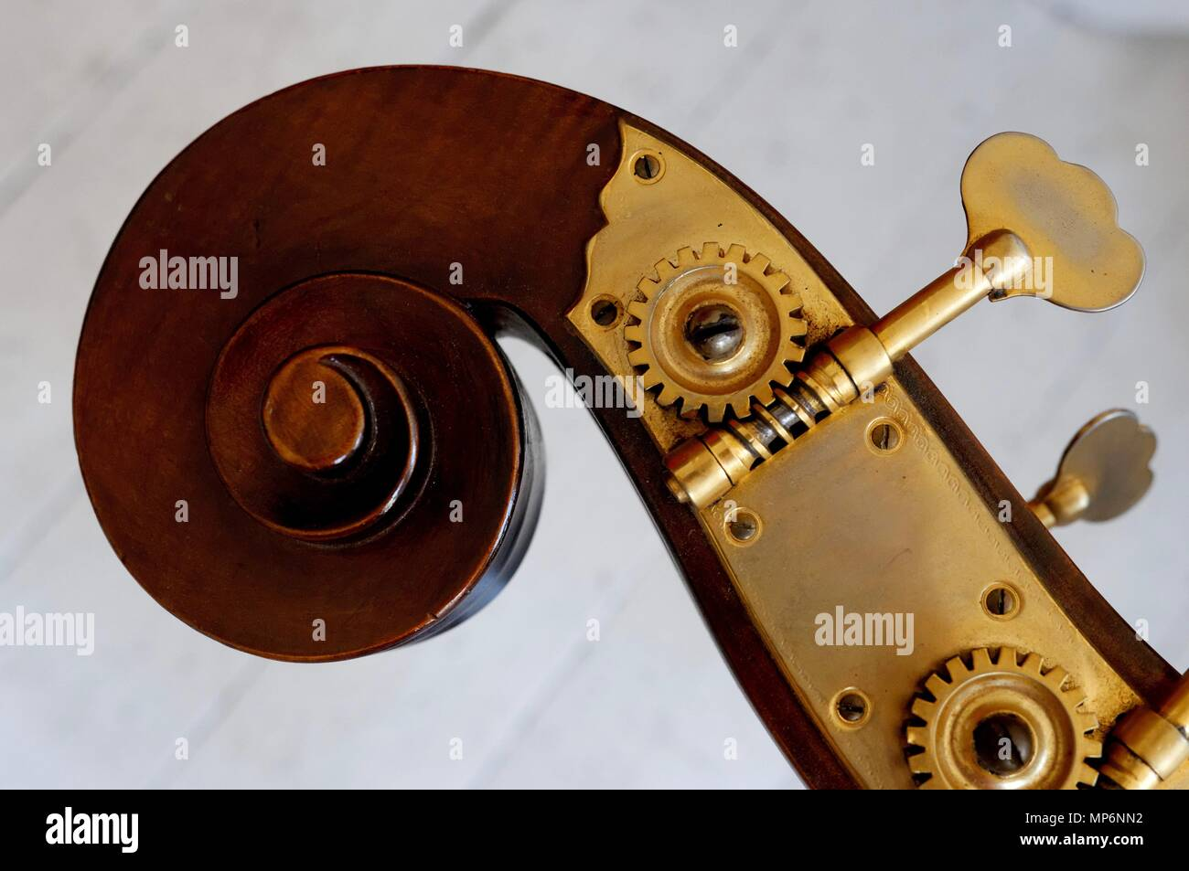 scroll and peg box from a double bass Stock Photo