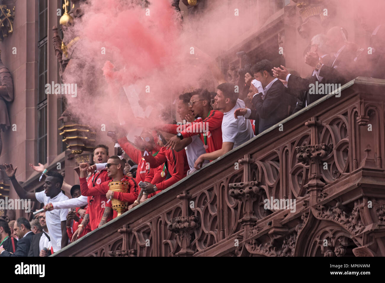 reception of the german cup winner 2018 eintracht frankfurt on the balcony of the roemer, Frankfurt am main, germany - Stock Image