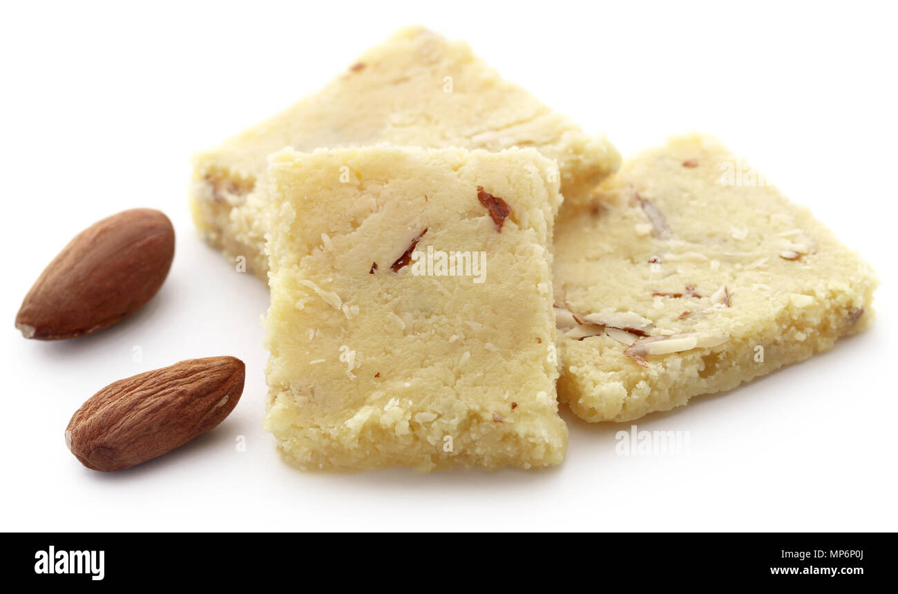 Tasty almond barfi over white background - Stock Image