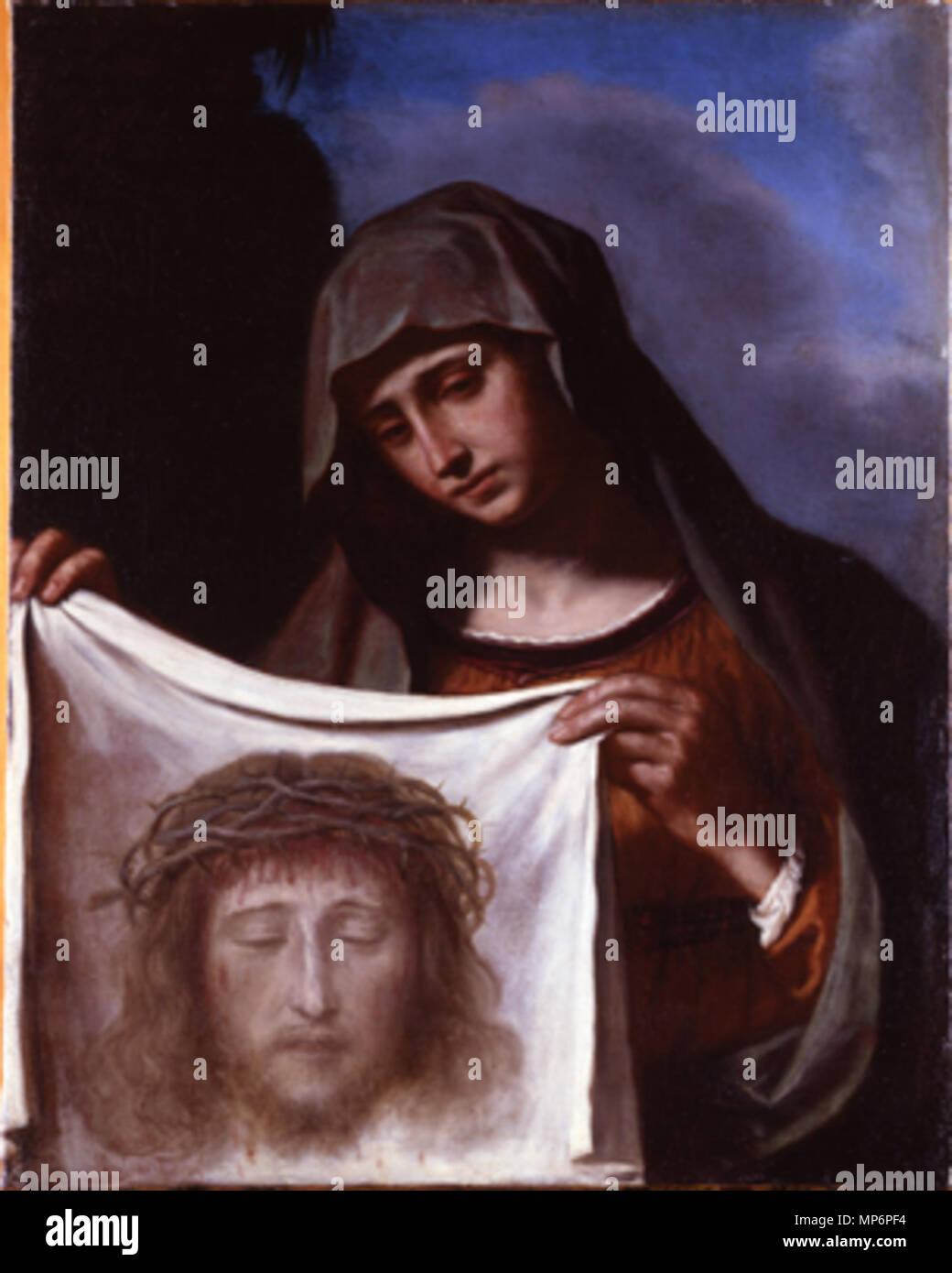 Veronica col sudario di Cristo, dipinto. 2 dia 10x12 (C01.65.03-04) foto Visconti, 2 dia 10x12 (C01.66.02-03) foto Sorgoli, Negativo bianco e nero 10x12 (C01.66.01) foto Visconti, 2 dia 6x7 (B01.15.08-09), 4 stampe 18x24 bianco e nero (G03.30.01-02, bis) foto Visconti, 4 stampe 18x24 bianco e nero (G03.31.01-02, bis) foto Sorgoli, stampa 24x30 bianco e nero (G03.32.01), polaroid 8x10 (E01.05.01), carige La Veronica 787 La Veronica di Barbieri Giovanni Francesco,il Guercino - Stock Image