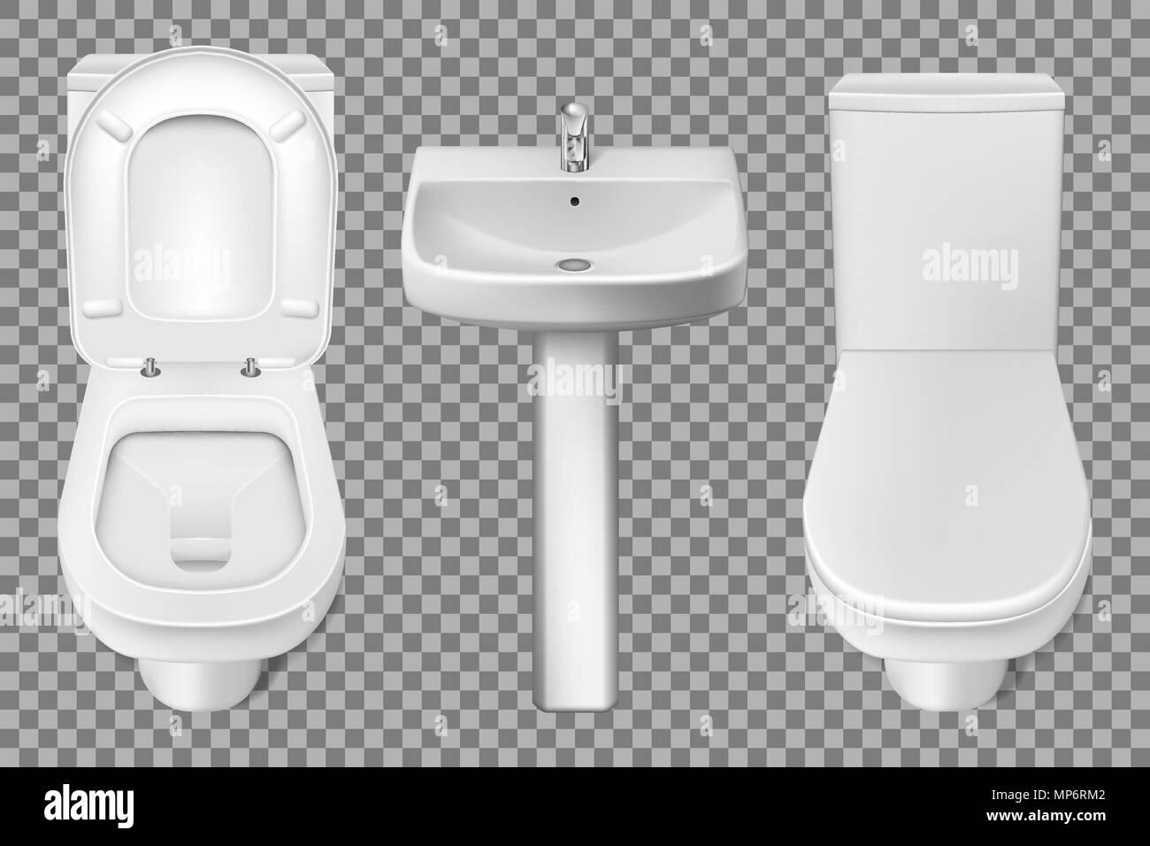 Bathroom interior toilet and washbasin realistic mockup. Closeup ...