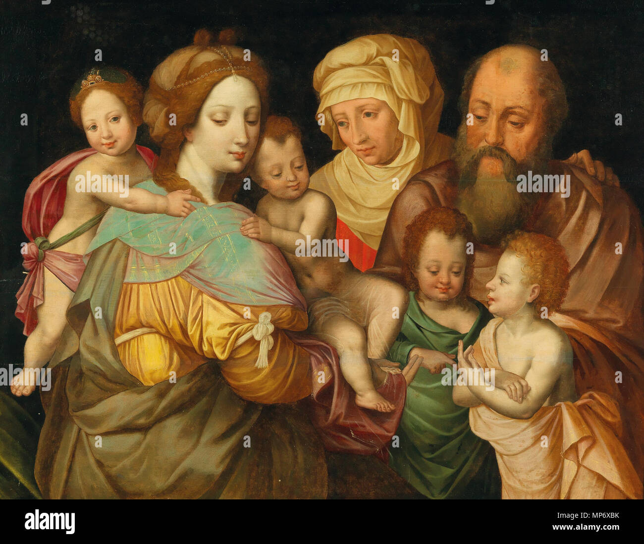 The Holy Kinship, Anna and Joachim with Maria Cleophas and her four sons   16th century.   1175 The Holy Kinship, Anna and Joachim with Maria Cleophas and her four sons - Stock Image