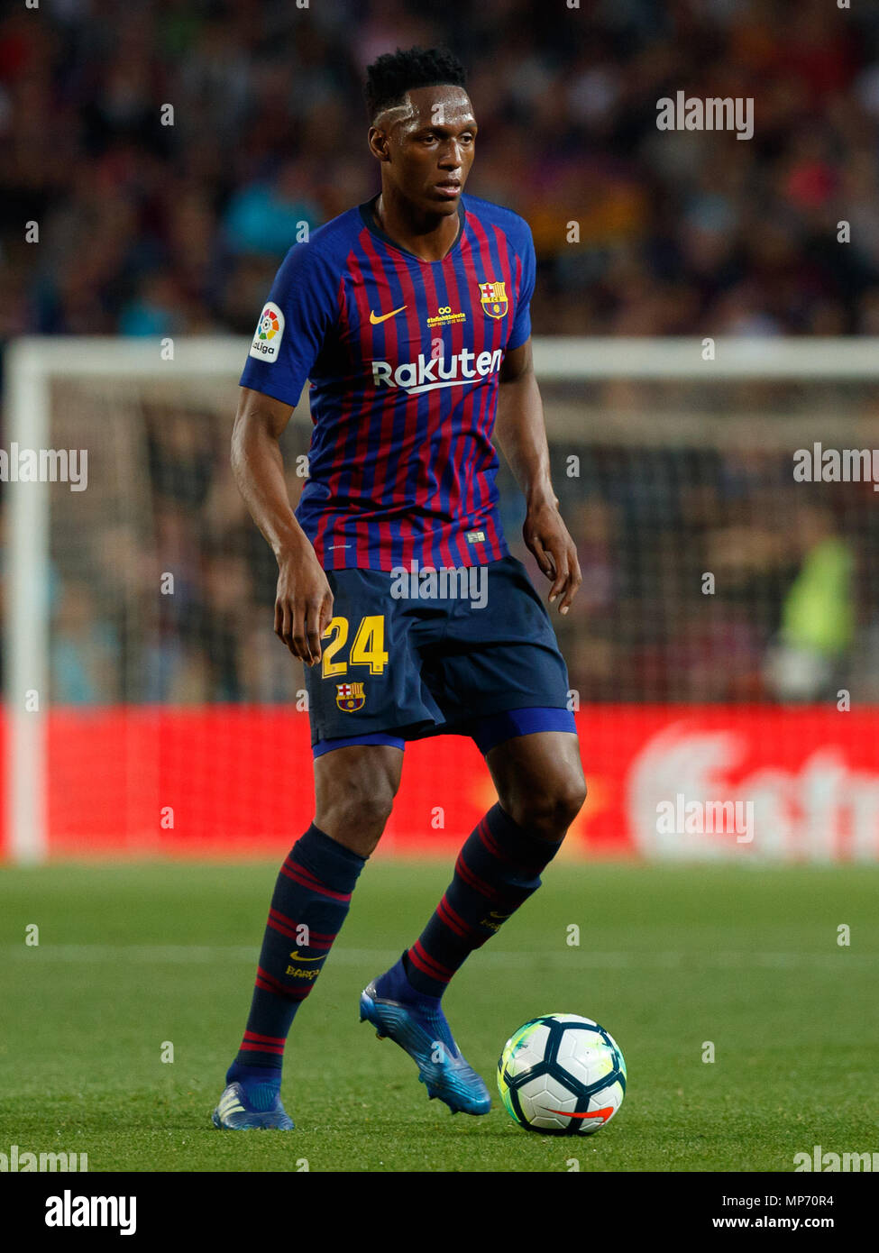 Barcelona 20th May Yerry Mina Of Fc Barcelona In Action During The 2017 2018 Laliga Santander Round 38 Game Between Fc Barcelona And Real Sociedad At Camp Nou On May 20 2018 In
