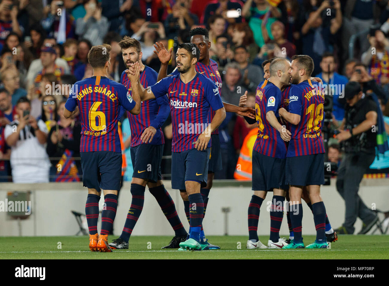Barcelona 20th May Fc Barcelona Players Celebrates A Goal During