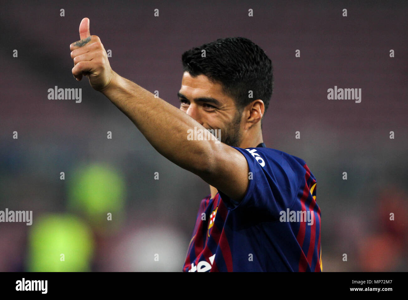 Barcelona, 20th May:  Luis Suarez of FC Barcelona during the 2017/2018 LaLiga Santander Round 38 game between FC Barcelona and Real Sociedad at Camp Nou on May 20, 2018 in Barcelona, Spain. - Stock Image