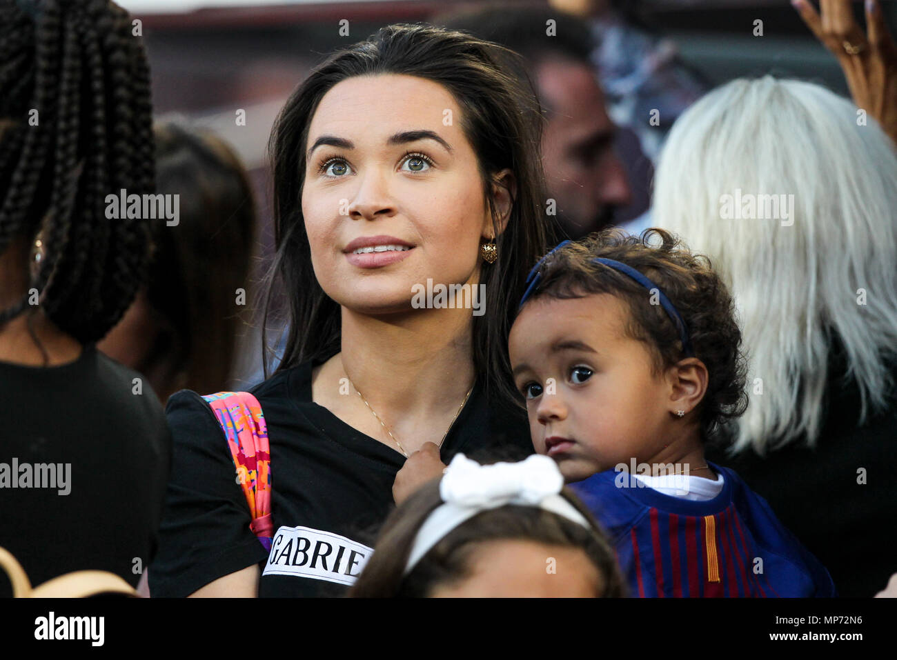Barcelona, 20th May:  Phillippe Coutinho wife before the 2017/2018 LaLiga Santander Round 38 game between FC Barcelona and Real Sociedad at Camp Nou on May 20, 2018 in Barcelona, Spain. - Stock Image