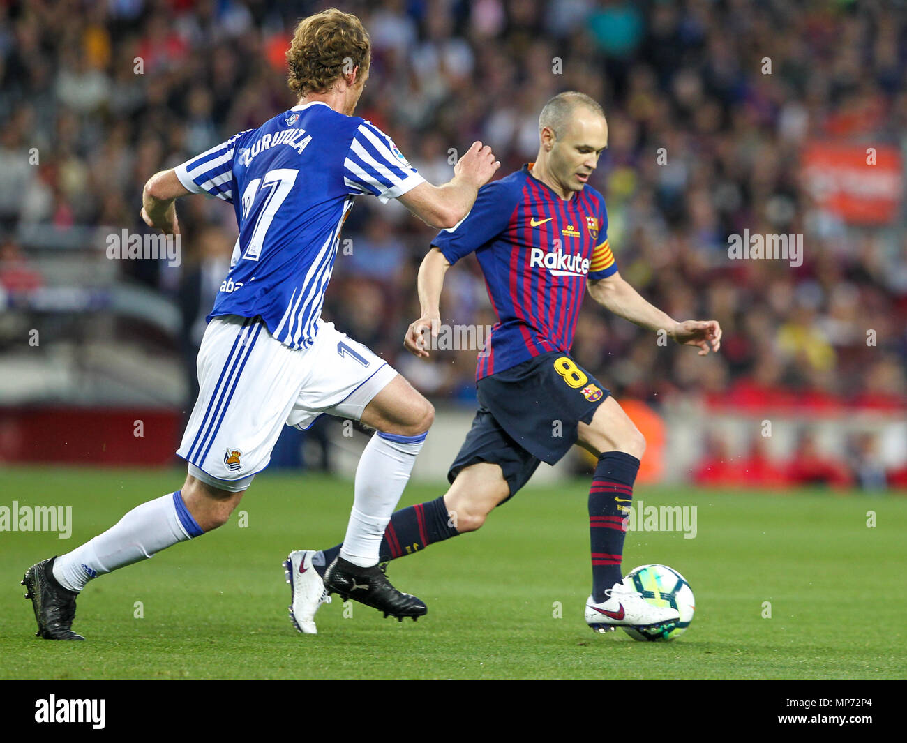 Barcelona, 20th May:  Andres Iniesta of FC Barcelona during the 2017/2018 LaLiga Santander Round 38 game between FC Barcelona and Real Sociedad at Camp Nou on May 20, 2018 in Barcelona, Spain. - Stock Image