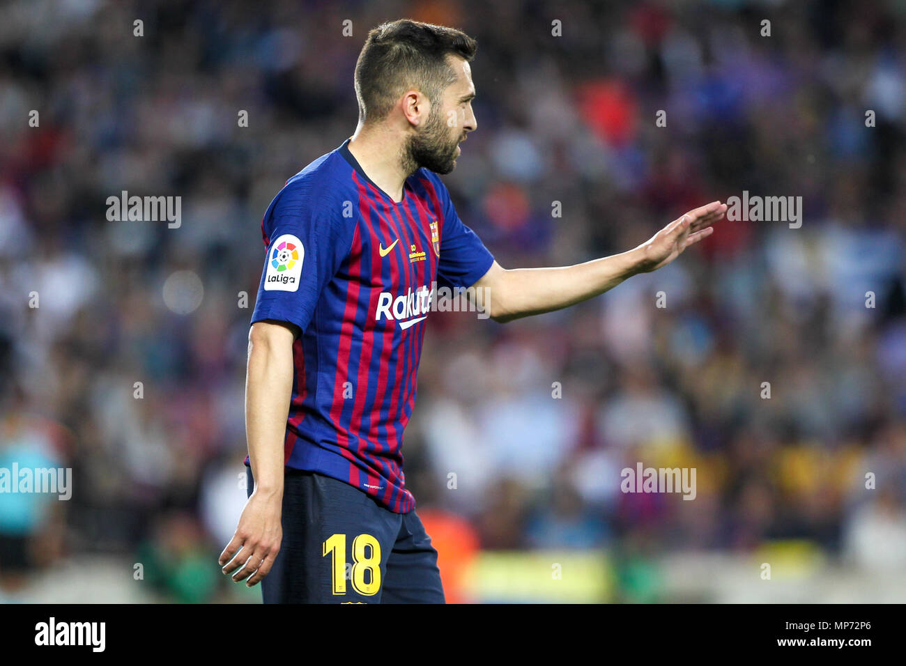 Barcelona, 20th May:  Jordi Alba of FC Barcelona during the 2017/2018 LaLiga Santander Round 38 game between FC Barcelona and Real Sociedad at Camp Nou on May 20, 2018 in Barcelona, Spain. - Stock Image