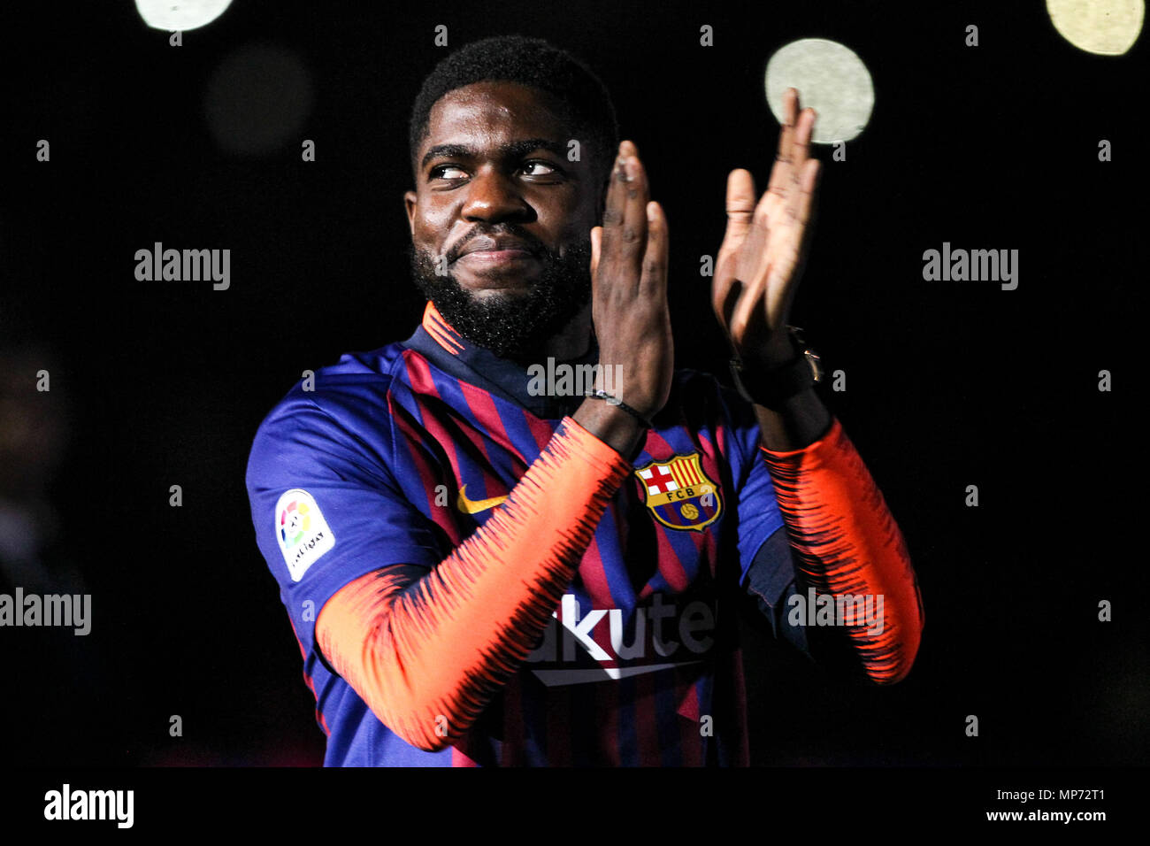 Barcelona, 20th May:  Samuel Umtiti of FC Barcelona during the 2017/2018 LaLiga Santander celebration at Camp Nou on May 20, 2018 in Barcelona, Spain. Stock Photo